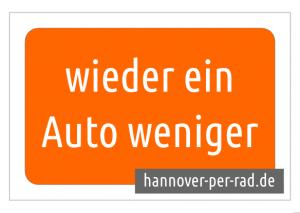 Schild: wieder ein Auto weniger